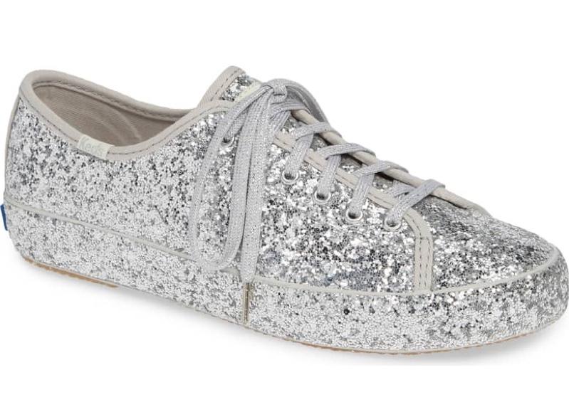 Keds x Kate Spade Kickstart Glitter Sneaker in Silver $90