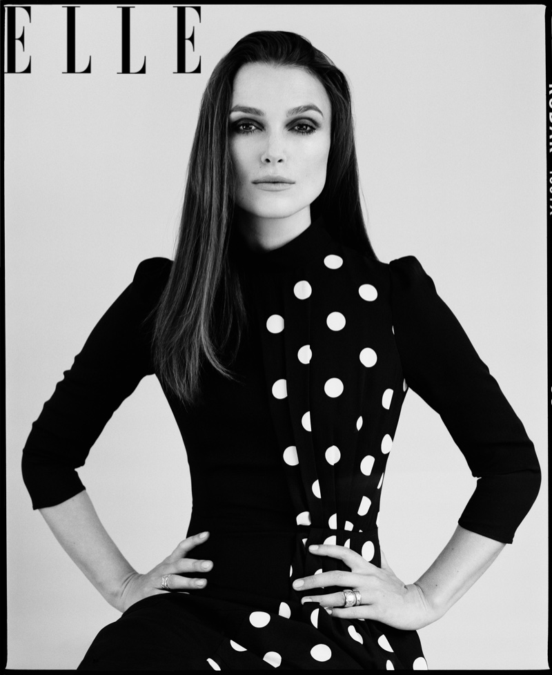 Keira Knightley strikes a pose in this black and white photograph