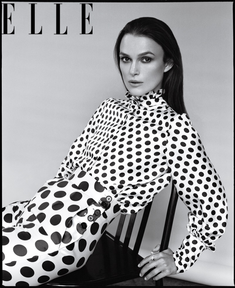 Actress Keira Knightley poses in polka dot prints