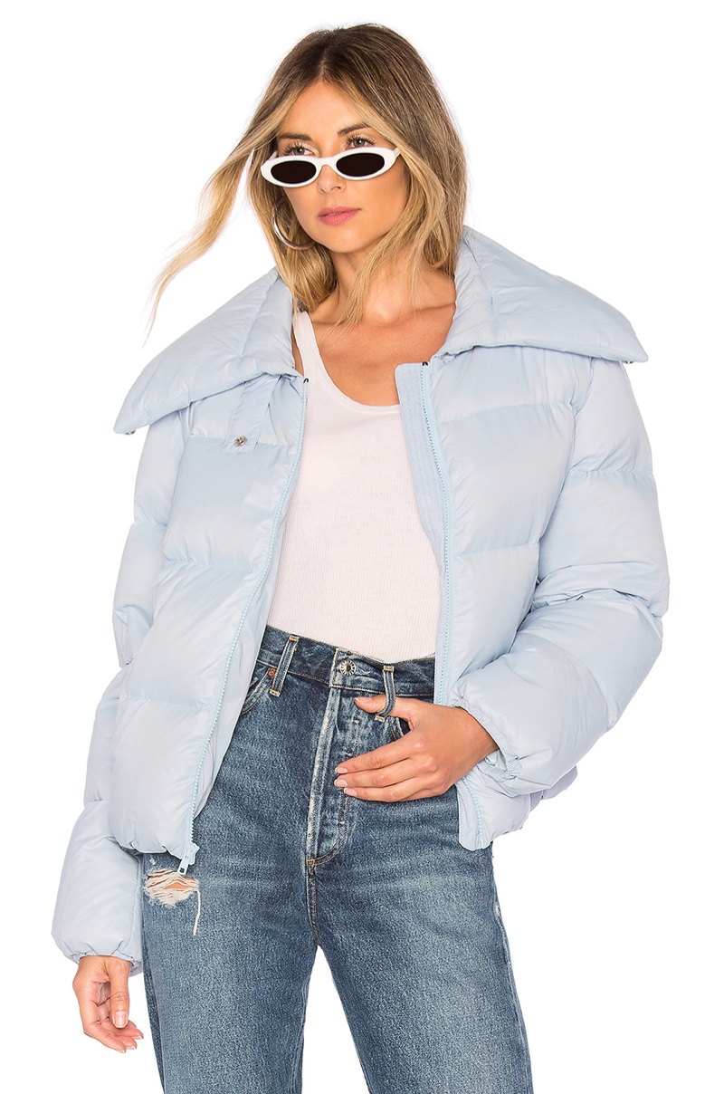 Kendall + Kylie Puffer Jacket in Ice Blue $195