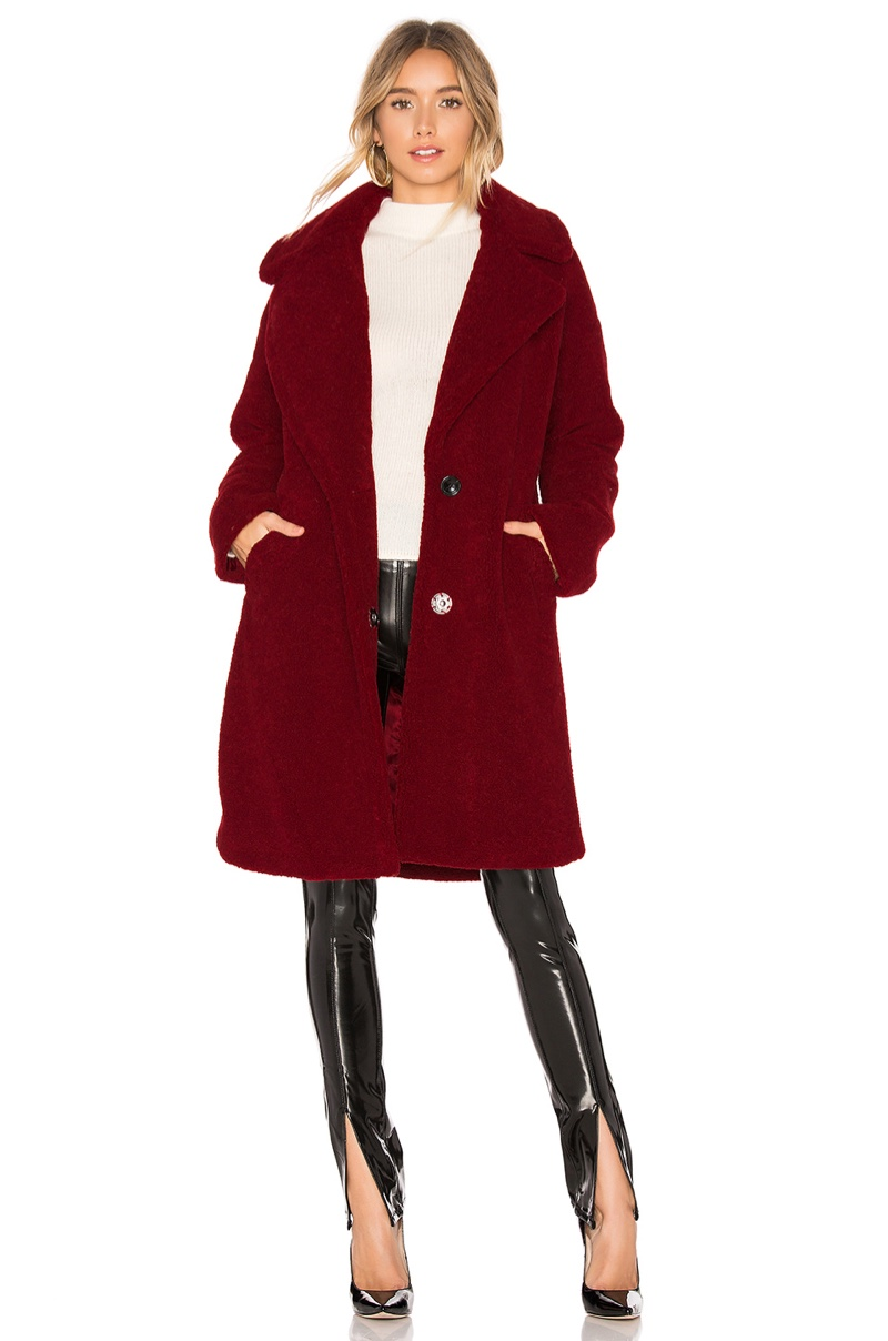 Kendall + Kylie Single Breasted Teddy Coat $200