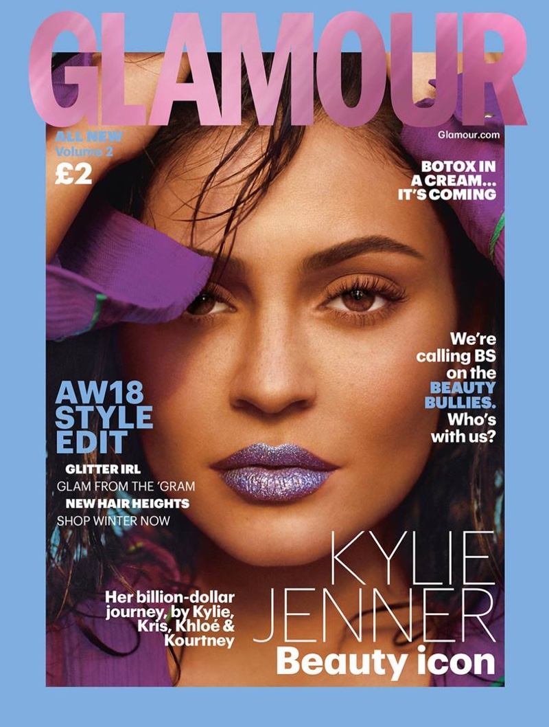 Beauty mogul Kylie Jenner wears glitter lip on Glamour UK Autumn/Winter 2018 Cover