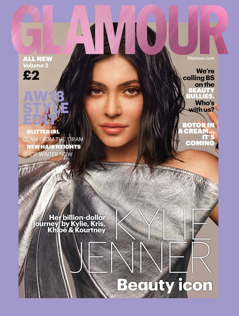 Kylie Jenner wears Christian Cowan dress on Glamour UK Autumn/Winter 2018 Cover