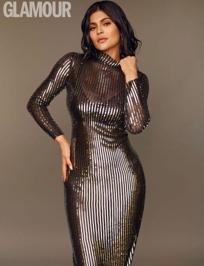 Kylie Jenner poses in Tanya Taylor dress