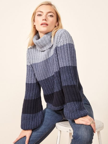 La Ligne x Reformation Color-Me-Happy Sweater in Blue Stripe $228
