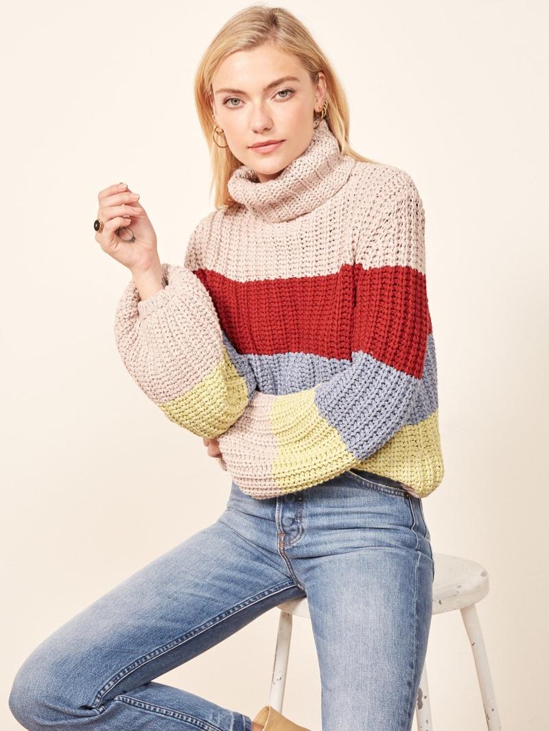 La Ligne x Reformation Color-Me-Happy Sweater in Bright Stripe $228