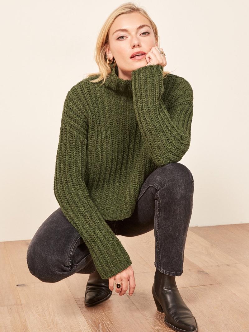 La Ligne x Reformation Never-Let-Me-Go Sweater in Olive $228