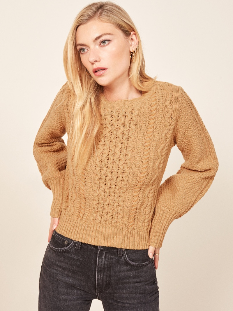 La Ligne x Reformation Sail-Away-With-Me Sweater in Camel $228