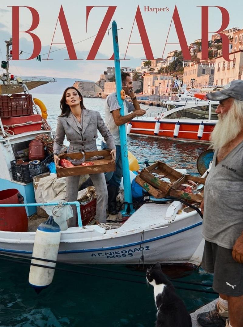 Lily Aldridge Models Vacation Fashions for Harper's Bazaar Greece