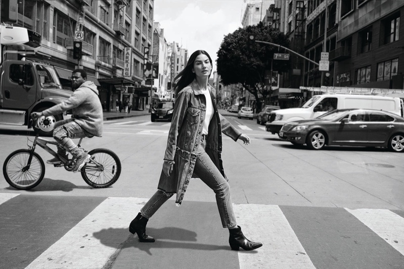 Lily Aldridge takes on denim style for Levi's Made & Crafted campaign