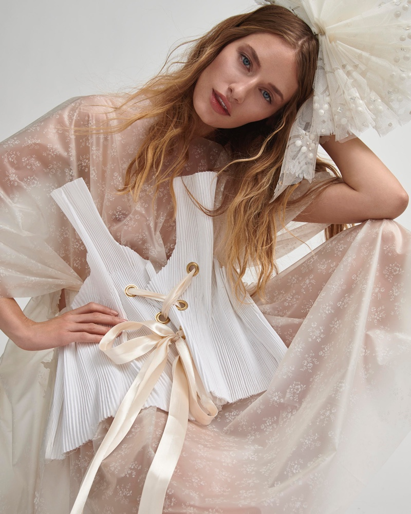 Linda Vojtova is Ethereal in All-White Style for Harper's Bazaar Czech