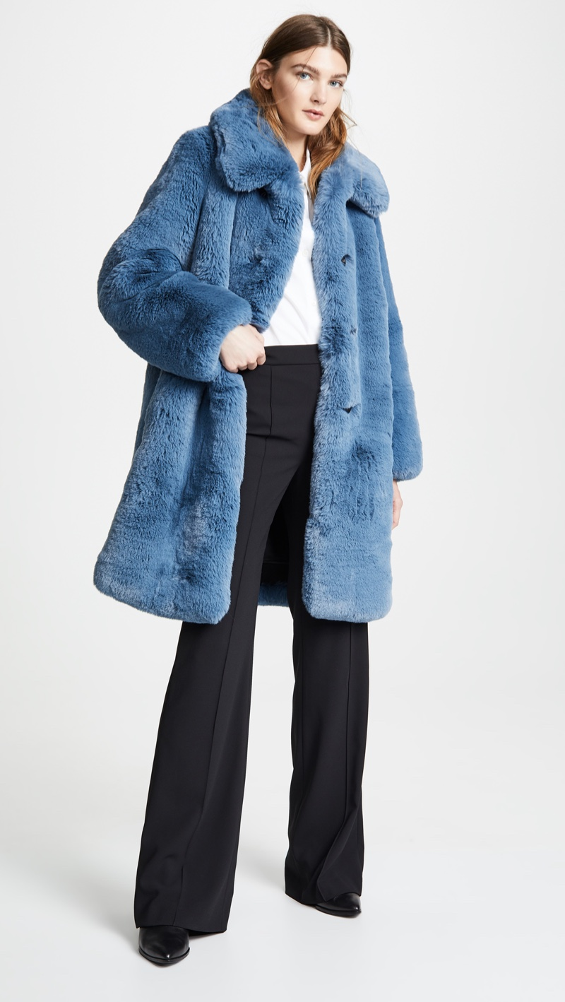 Marc Jacobs Plush Faux Fur Coat with Collar $950
