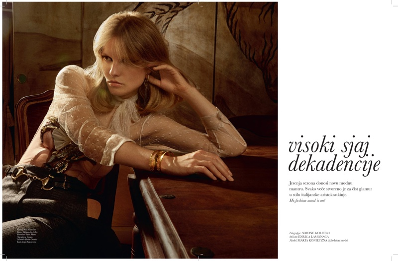 Maria Konieczna Models Party-Ready Dresses for ELLE Serbia