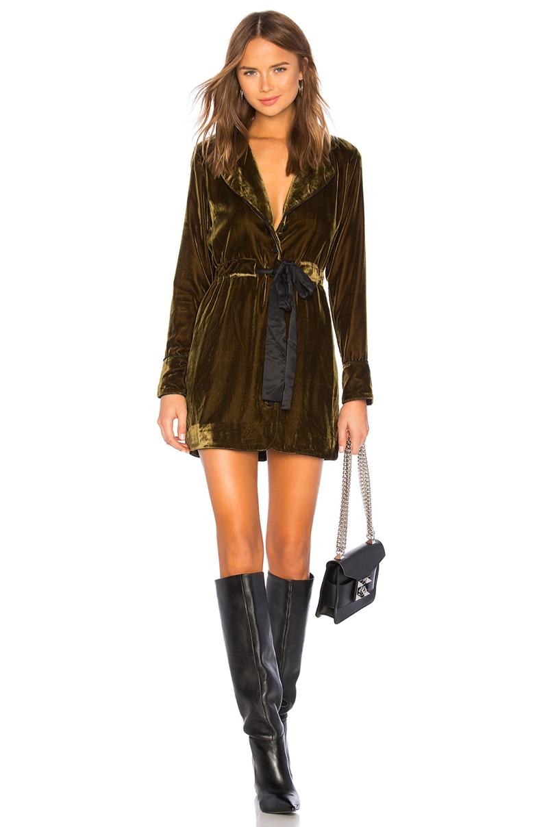 Marled x Olivia Culpo Velvet Piping Dress $158