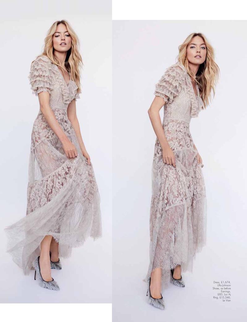 Martha Hunt Poses in the Prettiest Dresses for Hello! Fashion