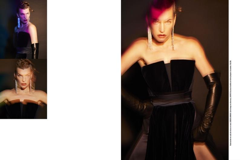Milla Jovovich poses in Giorgio Armani dress and Lanvin gloves