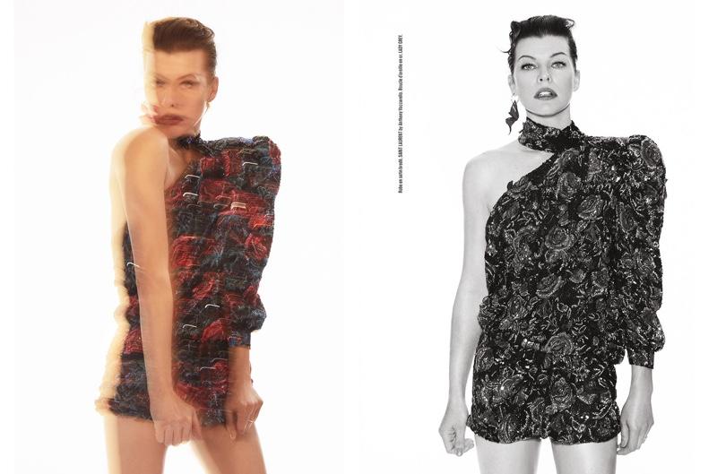 Embracing print, Milla Jovovich wears a one-shoulder Saint Laurent dress