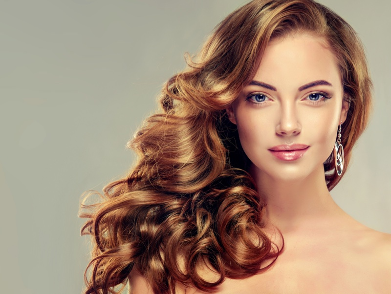 Model with Beautiful Thick & Wavy Hair