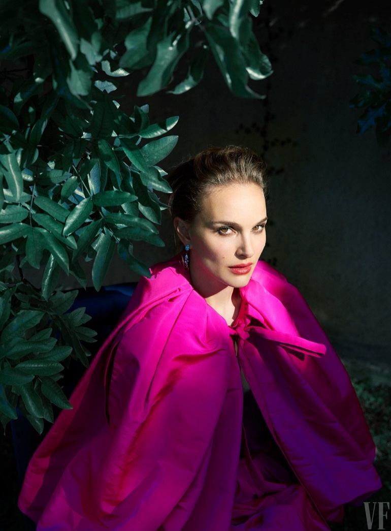 Natalie Portman poses in a pink Calvin Klein cape and skirt