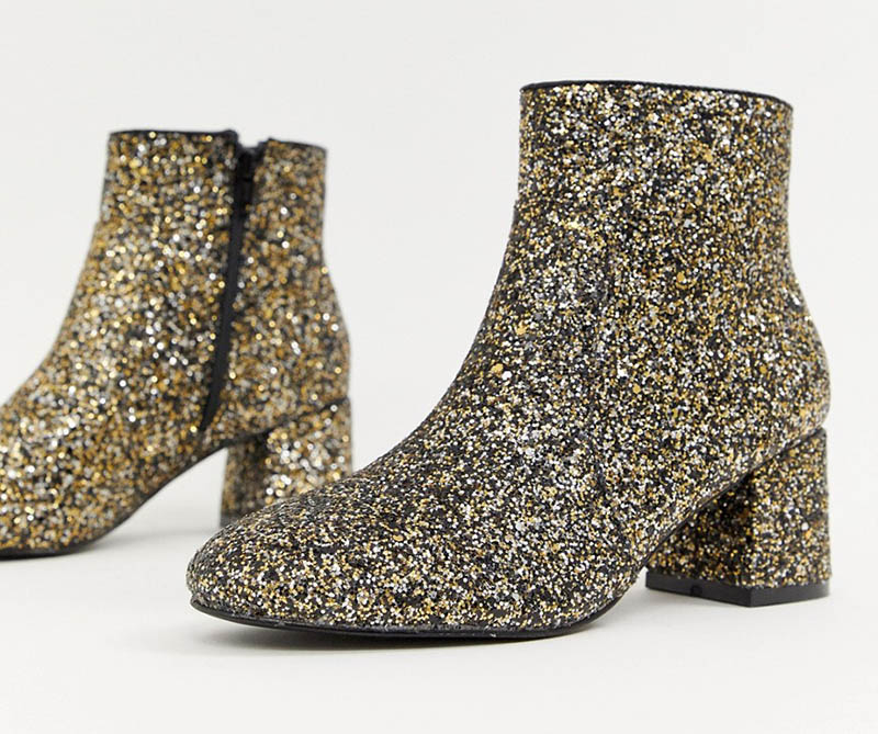 Oasis Heeled Boots in Gold Glitter $72