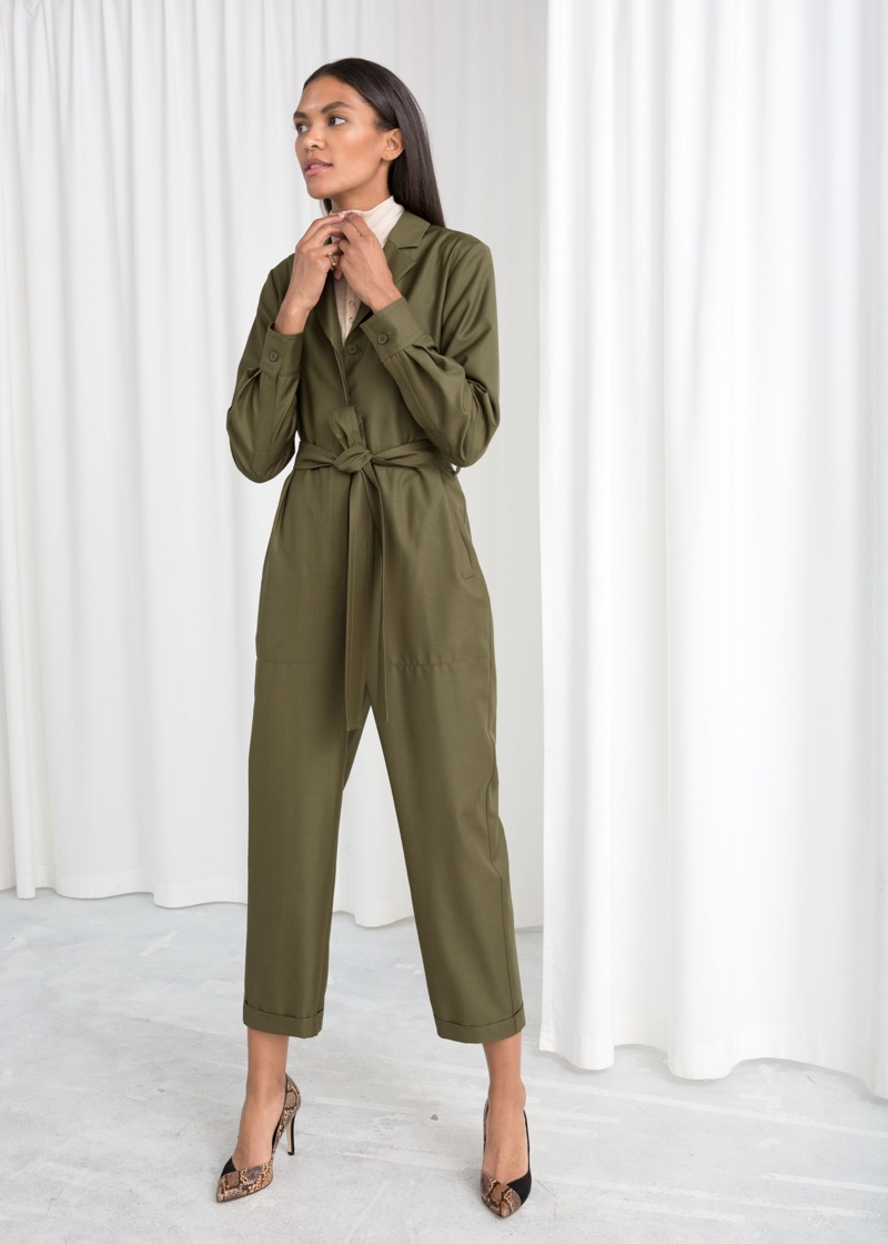 & Other Stories Belted Wool Blend Jumpsuit $149