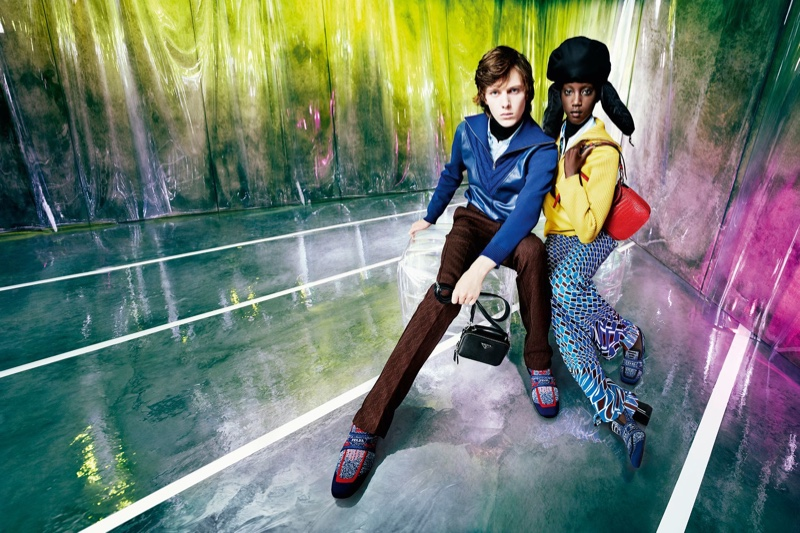 b2956e9eef71f Daan Duez and Anok Yai star in Prada resort 2019 campaign