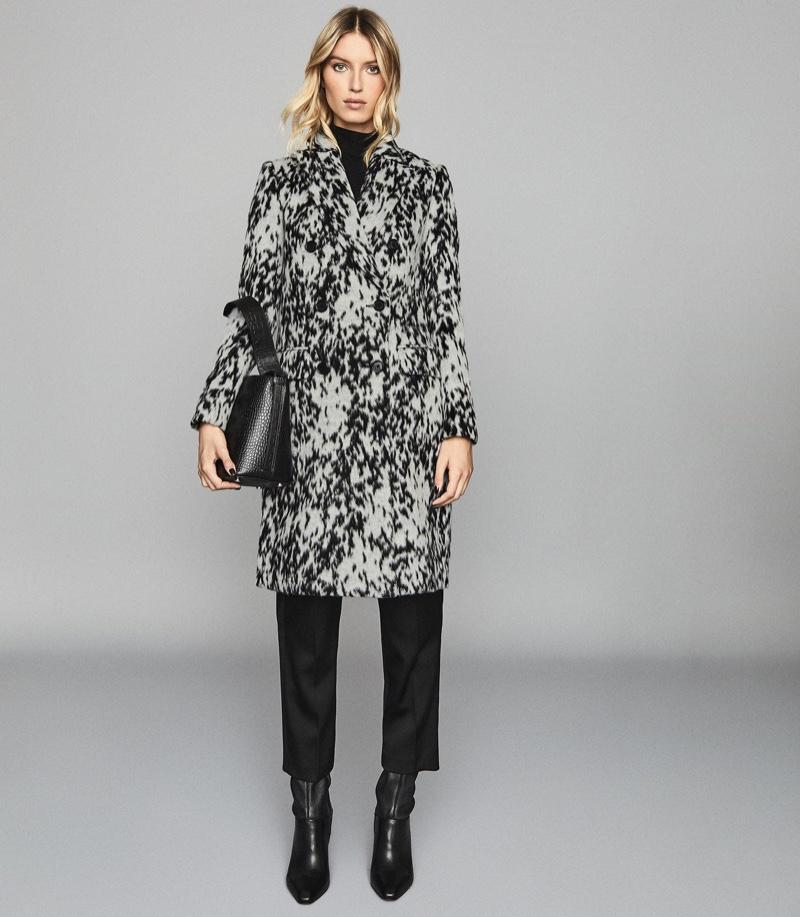 REISS Dala Double Breasted Animal Print Coat $545