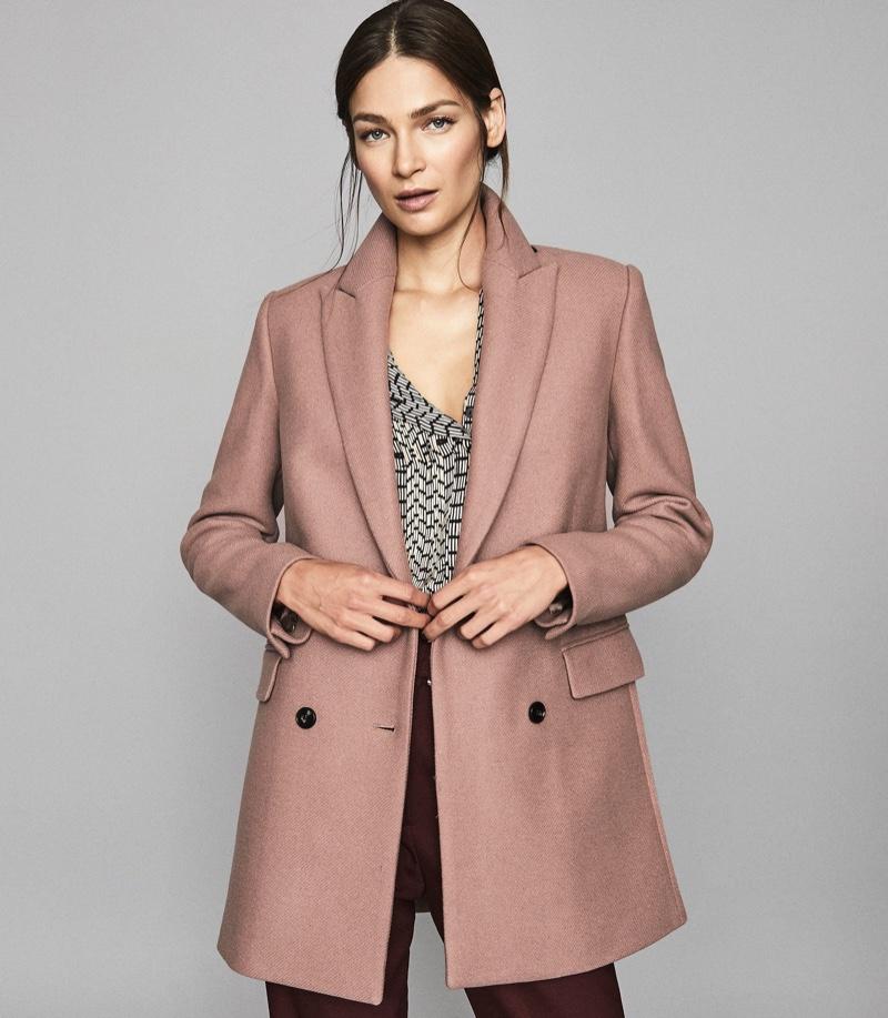 REISS Dana Double Breasted Short Wool Coat in Dusky Pink $545
