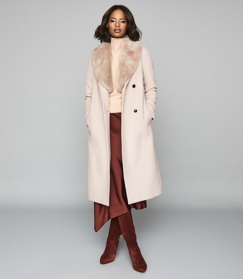 REISS Dawson Faux Fur Shawl Collar Coat $745