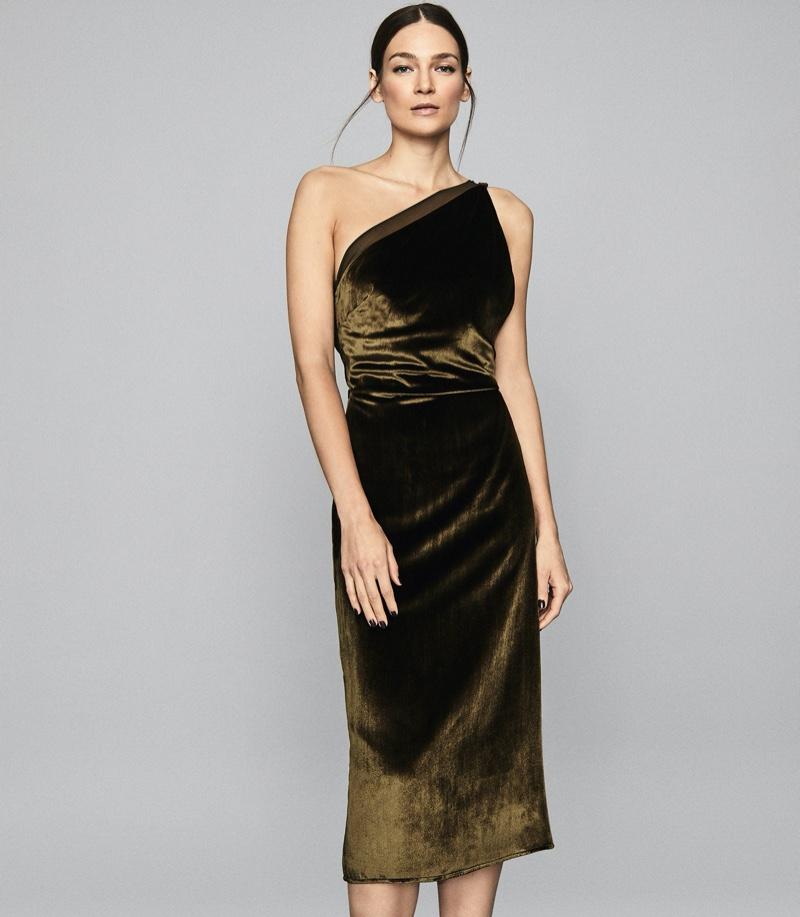 REISS Eden Velvet One Shoulder Dress in Khaki Green $495