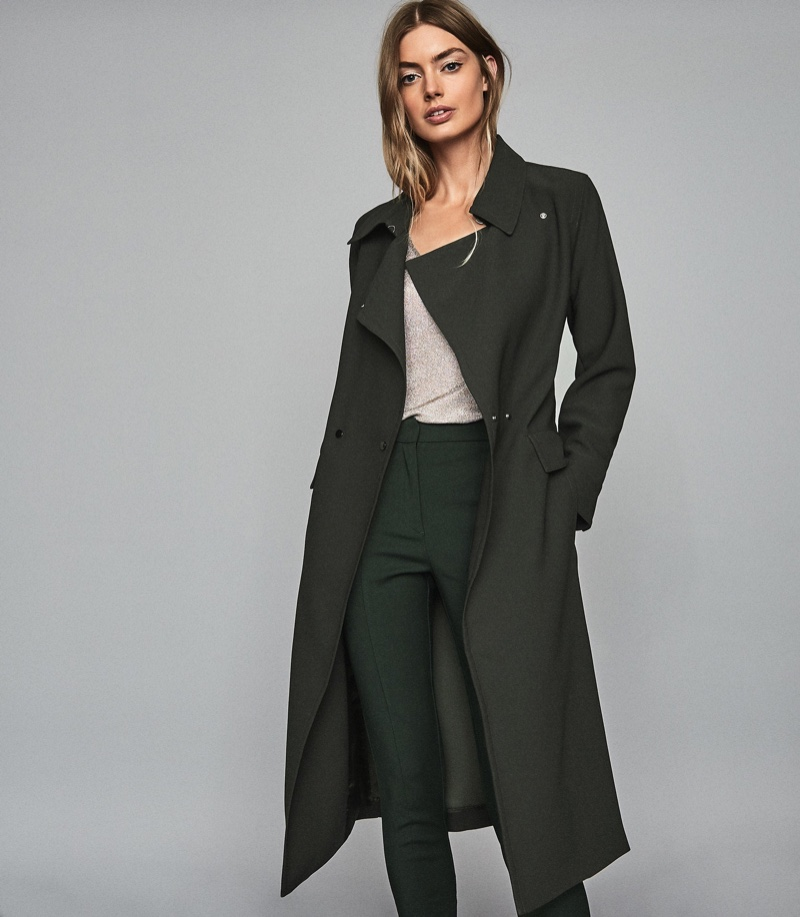 REISS Emmie Satin Longline Mac in Dark Green $545
