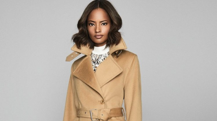 REISS Everley Wool Blend Belted Trench Coat in Camel $935