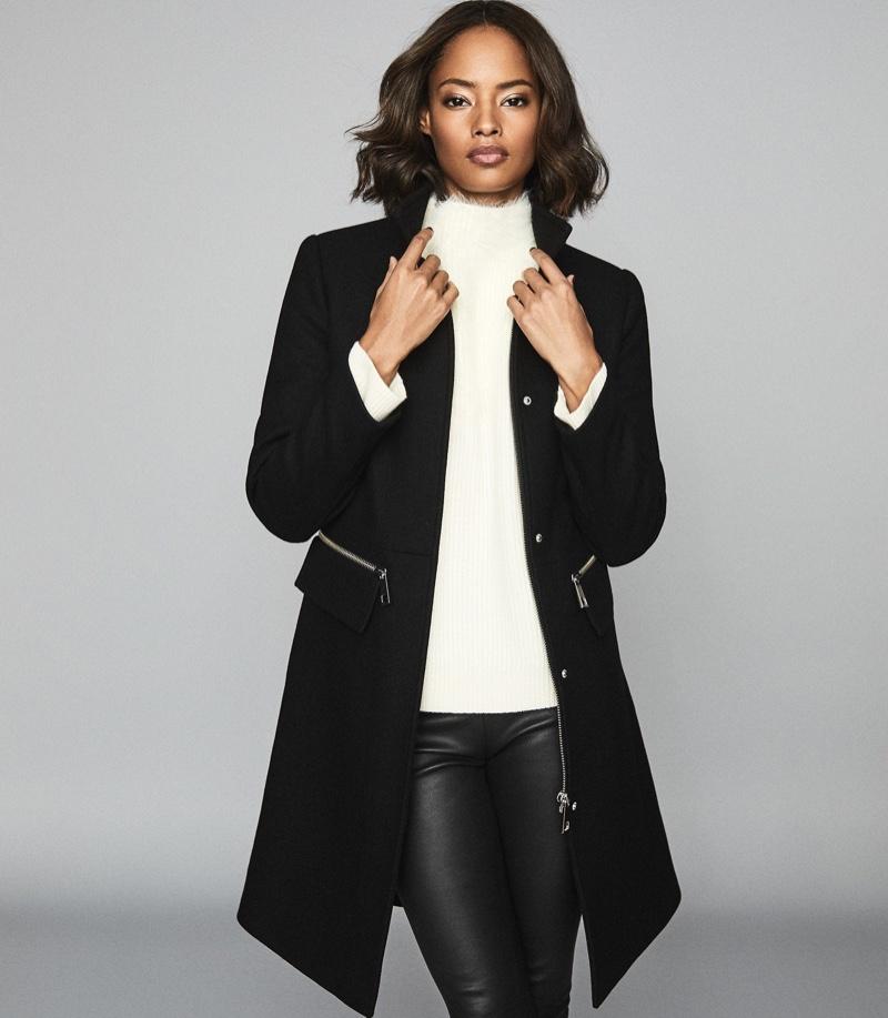 REISS Macey Wool Blend Funnel Neck Coat $725