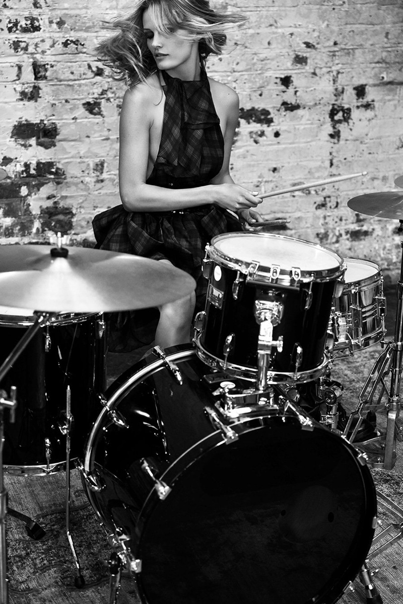 Playing drums, Edita Vilkeviciute poses for Redemption fall-winter 2018 campaign
