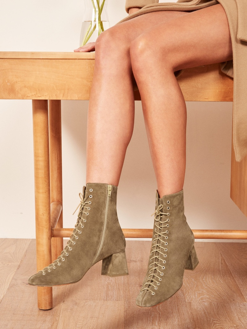 Reformation x By Far Becca Boot in Olive $530