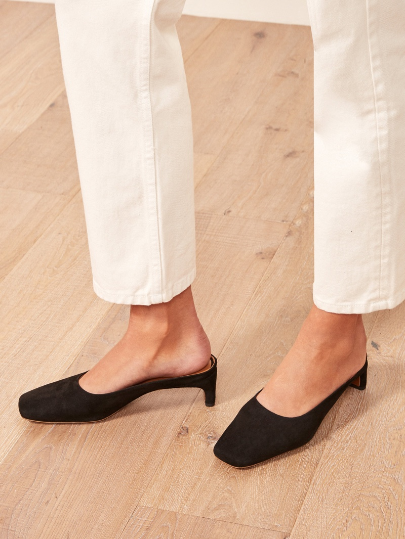 Reformation x By Far Maria Mule in Black $420