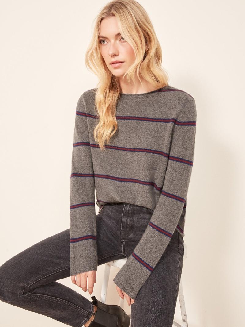 Reformation Cashmere Boyfriend Sweater in Alexandra Stripe $148