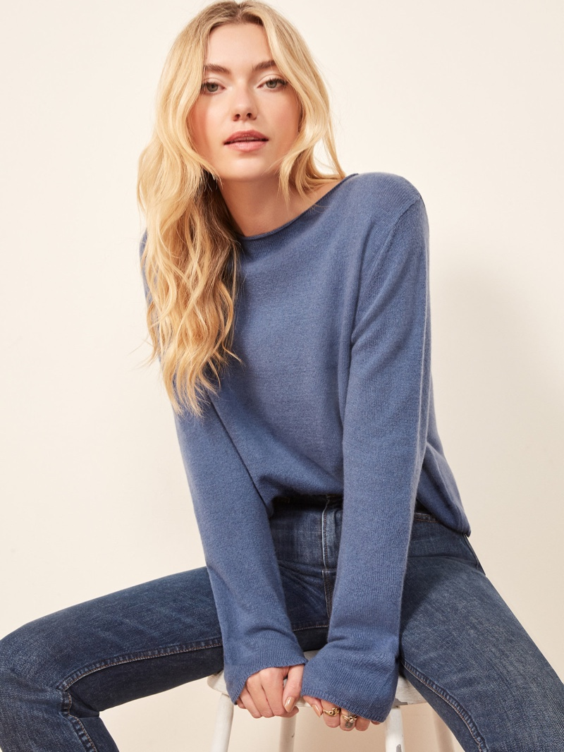 Reformation Cashmere Boyfriend Sweater in Blue $148