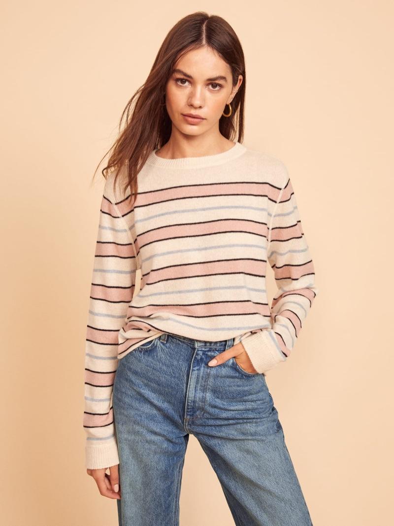 Reformation Cashmere Boyfriend Sweater in Serenade Stripe $148