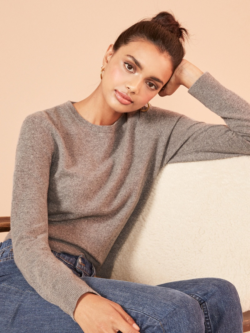 Reformation Cashmere Crew Sweater in Pewter $148