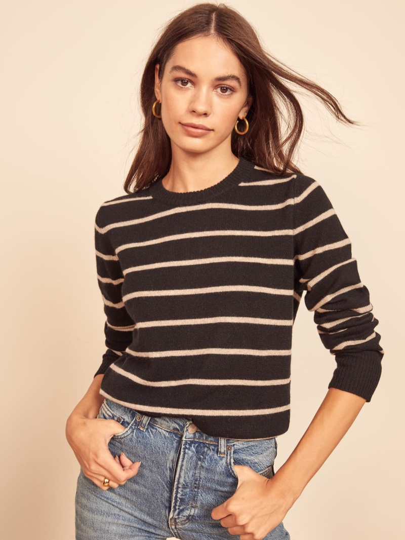 Reformation Cashmere Crew Sweater in Tanner $148