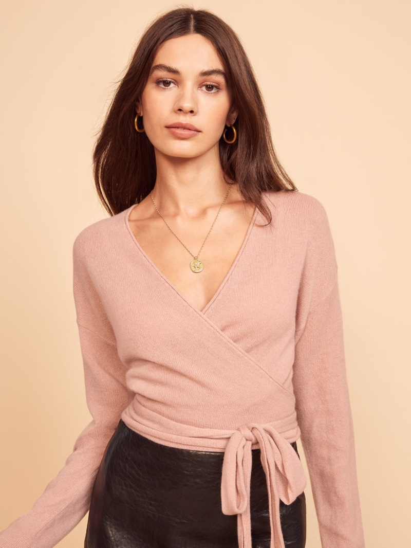 Reformation Relaxed Cashmere Wrap Sweater in Blush $148