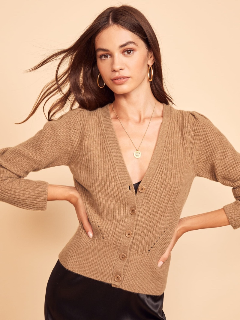 Reformation Fossi Cashmere Cardigan in Camel $228