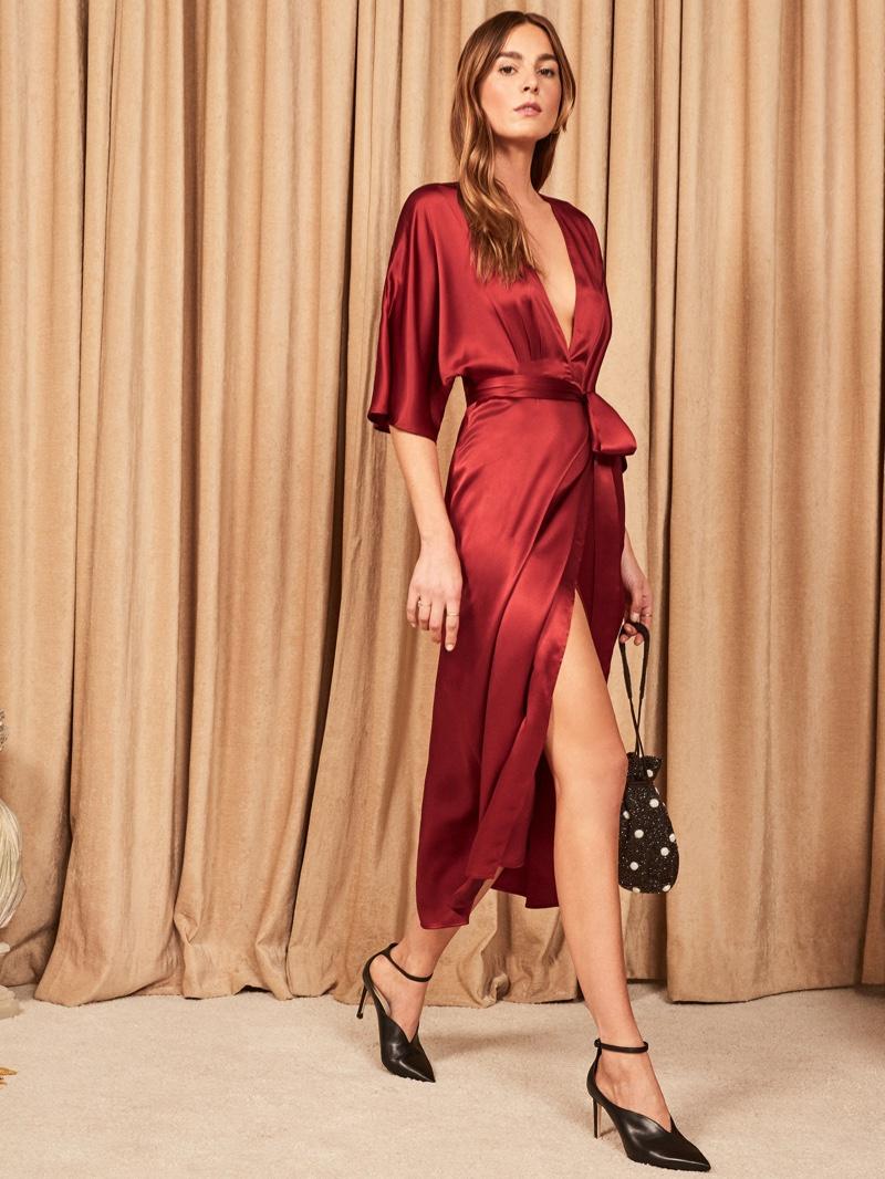 Reformation Hedi Dress in Crimson $278