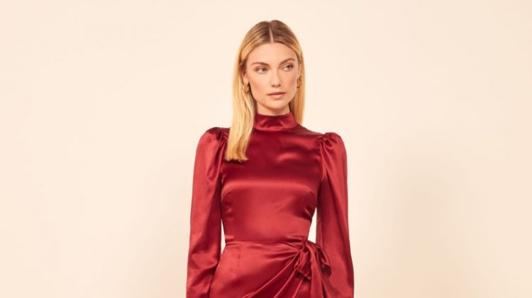 Reformation Josefine Dress in Crimson $278