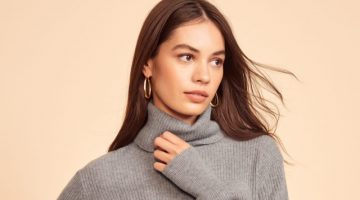 Reformation Luisa Cropped Cashmere Sweater in Dark Grey $198