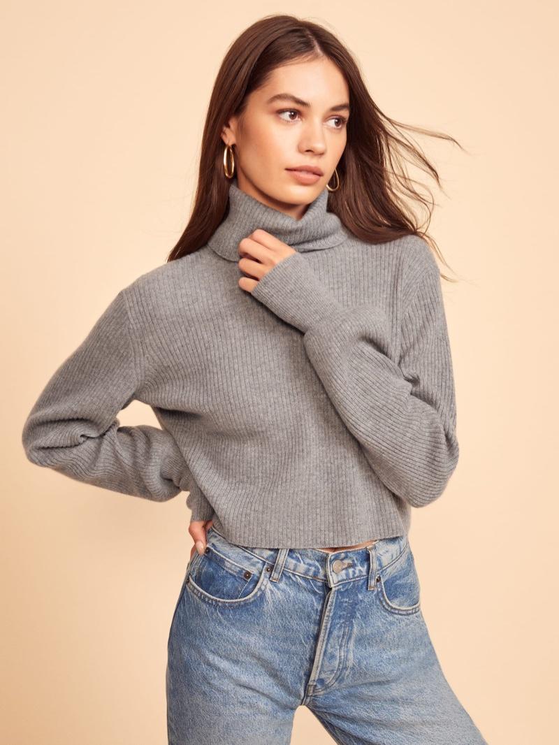 Reformation Luisa Cropped Cashmere Sweater in Dark Grey $198