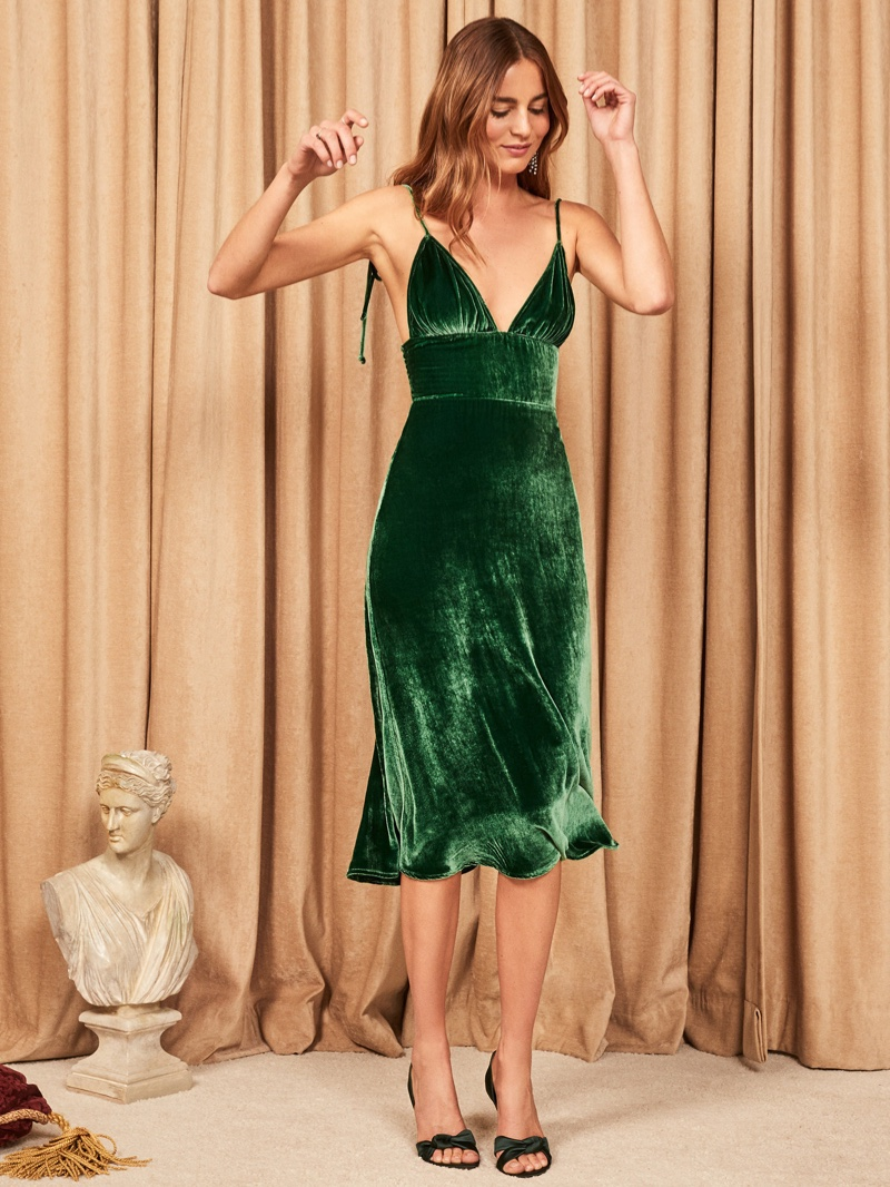 Reformation Melany Dress in Emerald $278