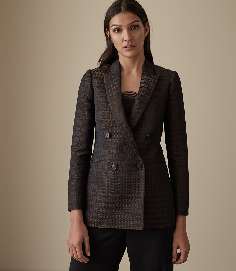 Reiss Cali Houndstooth Check Blazer $620