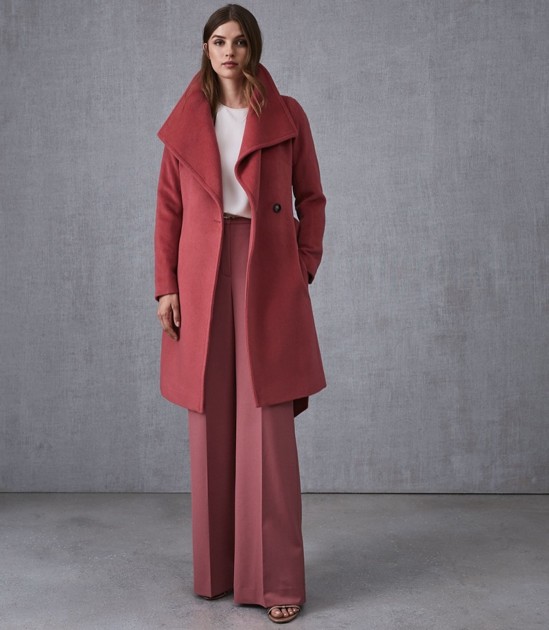 Reiss Luna Wool Self Tie Coat in Raspberry $630